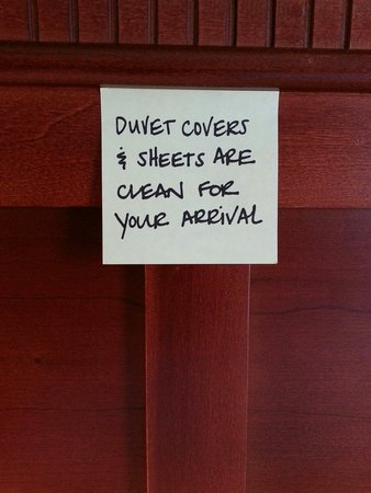 Hampton Inn & Suites Rockland: The note that was left on the headboard. ...