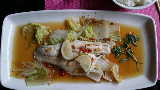 Saba: Sea bass dish.