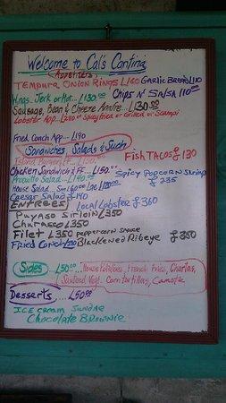 Temporary Cal's Cantina: Some of the menu
