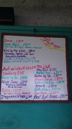 Temporary Cal's Cantina: The menu changes