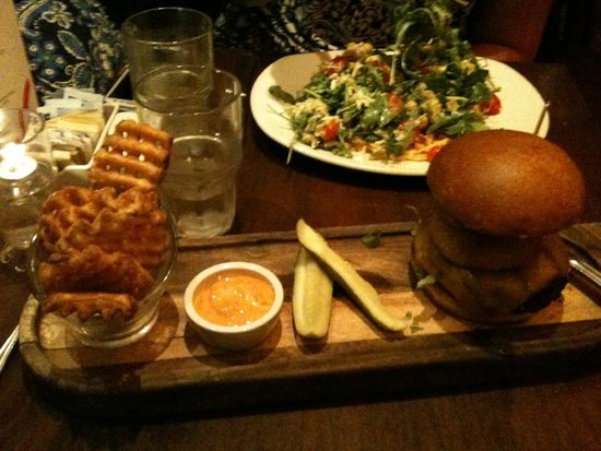 Max Brenner: Burger with Waffle Fries, and Quinoa Salad