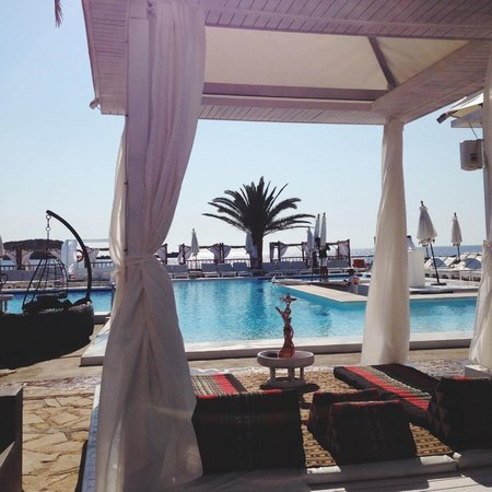 Jacaranda Lounge: View of the luxurious beds and the pool.