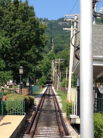 The Lookout Mountain Incline Railway: View of the incline from the bottom.