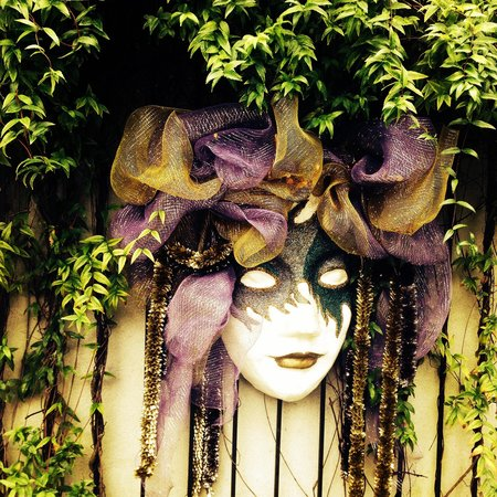 Mobile Carnival Museum: Mask on the wall outside