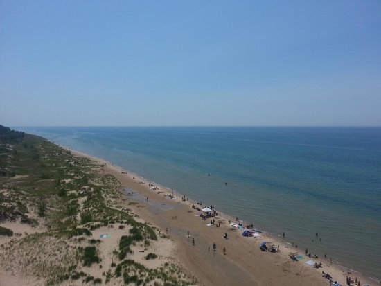 Little Sable Point Lighthouse: View of the Lake Michigan shoreline from the top of the lighthouse