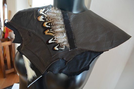 RebeccA's Studio Gallery: Leather and Feather Neck Piece