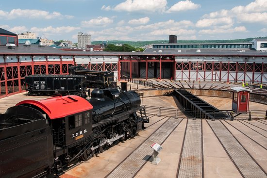 Steamtown National Historic Site: Restored Roundhouse with Scranton Beyond
