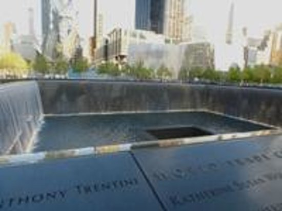 The National 9/11 Memorial & Museum: The Memorial fountains.