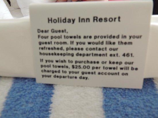 Holiday Inn Resort Lake George: Towel note