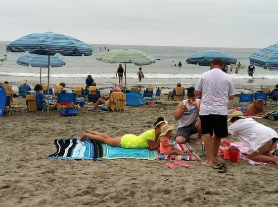 La Jolla Shores Hotel: Beach on a drizzly day - crowded