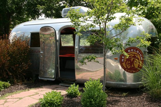 New Belgium Brewing: An old Airstream was converted into yard art