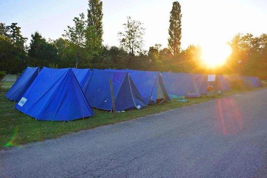 Camping Paris-Est : Our contiki tents at sunrise