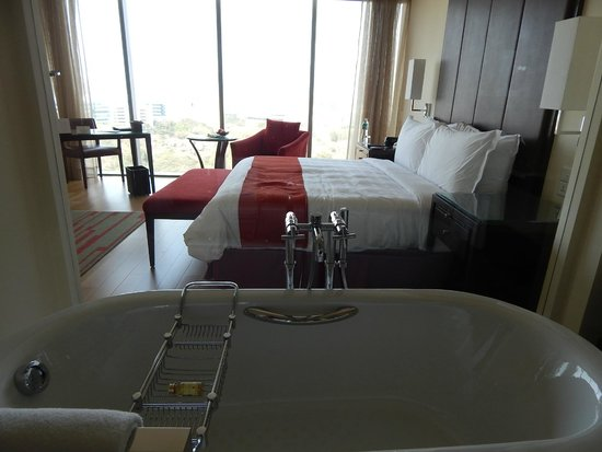 Trident Hyderabad: View of the bed from bathroom