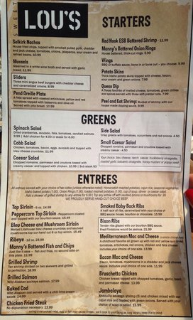 Lou's Waterfront: Sweet Lou's on the Waterfront menu July 2014.