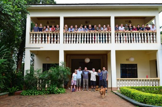 Worlds Collide Africa House: Our group at the front of Pamoja Guesthouse