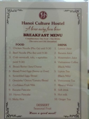 Hanoi Culture Hostel : Breakfast menu