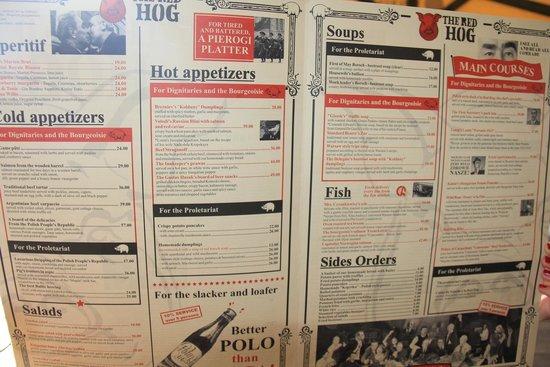 Czerwony Wieprz : The very original menu, based on a Marxist theme