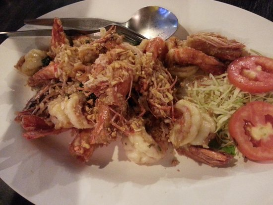 Krua Thara : Garlic fried prawns