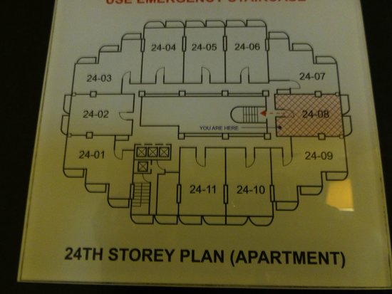 Somerset Liang Court Singapore: Map of 24th floor - 7, 8, 9 are facing the river end, 1, 2, 3 are facing River Valley Road