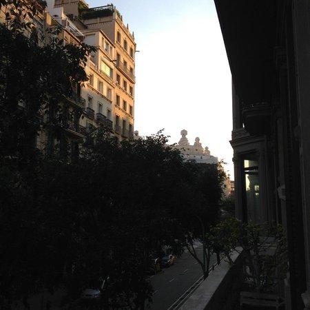 Circa 1905: View from balcony -Circa1905 (with Gaudi's Casa Mila