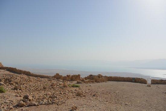 Masada National Park: Mountain top view to the Dead sea from Masada