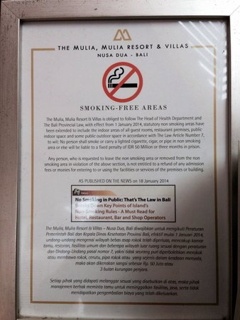 Mulia Resort: Non smoking environment