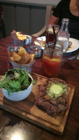 The Five Alls: Steak main course with bloody mary