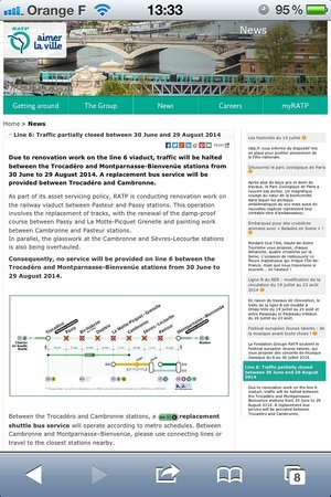 Le Relais Saint Charles: Dupleix metro down - Metro disruption to Line 6 (30 June-29 Aug 2014)