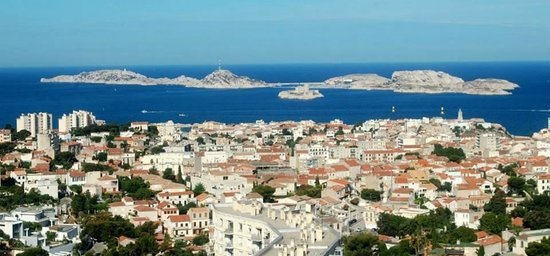 Basilique Notre Dame de la Garde: View to the island of Frioul