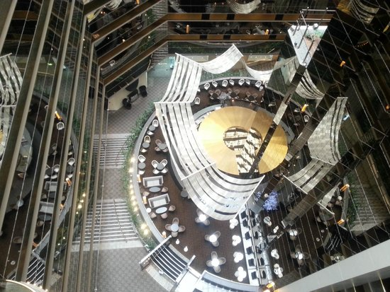Sofitel Melbourne on Collins: Looking down from hallway of rooms to the atrium