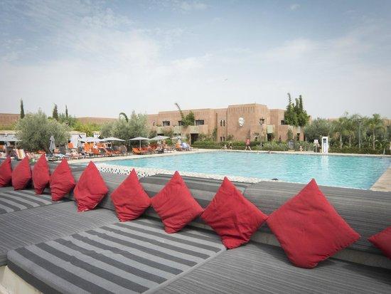 Kenzi Club Agdal Medina: Vue depuis le bar sur la piscine... quelques parasols ne seraient pas du luxe!