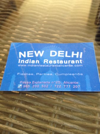 New Delhi Indian Restaurant Carte De Visite