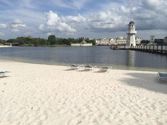 Disney's Beach Club Resort: The little beach and light house on the lake