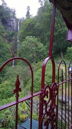 Pistyll Rhaeadr: View of waterfall from my rocking chair on the balcony