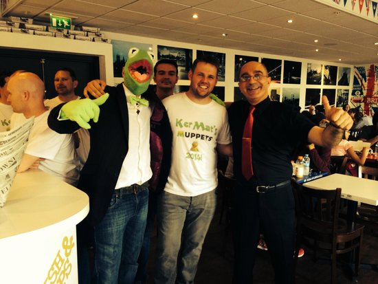 Great British Fish and Chips: Manager Metin posing for photos with customers