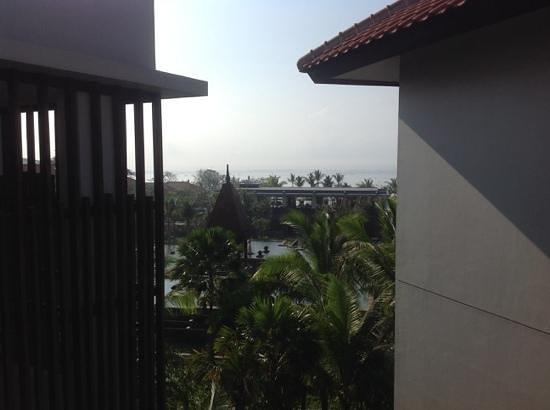 Fairmont Sanur Beach Bali: view of hotel Temple, Balanese gardens, Indian ocean from 4th floor