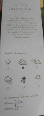Casa Valduga Villas : Cartão com previsão do tempo