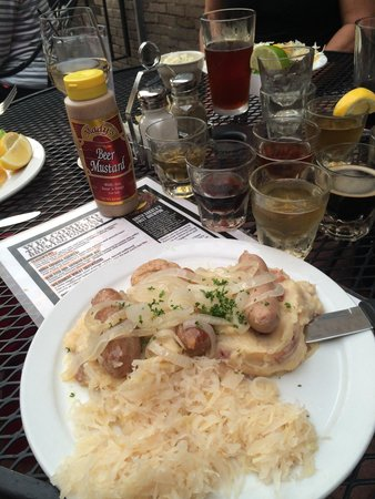 Firehouse Brewing Co.: Banger plate with sauerkraut and mashed potatoes.