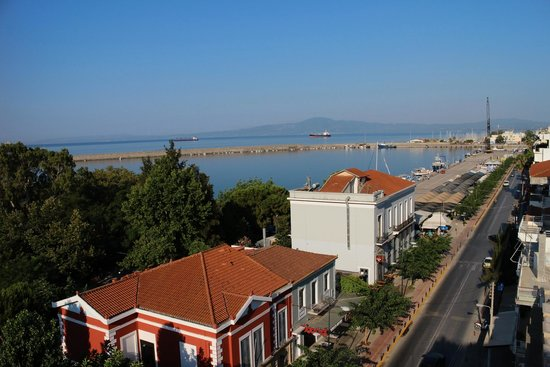 Pharae Palace: View from my balcony towards the port