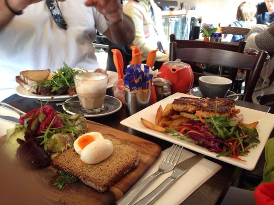 Twenty 8 Acres: (From top clockwise) Irish breakfast, Chicken Schnizel and Cured Salmon. Superb. Skinny Chai cof