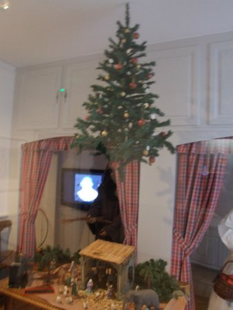 Musée alsacien : Tree hung from the ceiling- not in a floor stand.