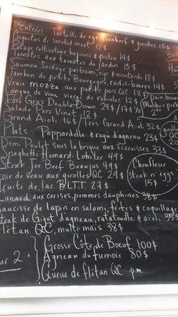 Joe Beef: The ever-changing blackboard menu
