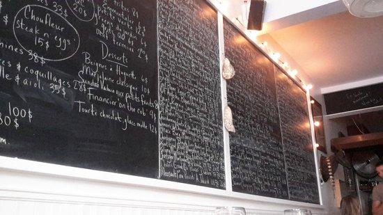 Joe Beef: Blackboard menu