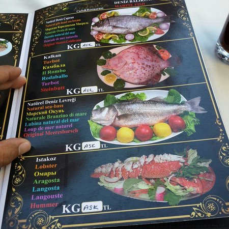 Fish menu picture of antakya restaurant istanbul for Divan kebab carte