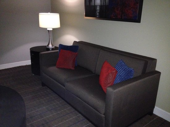 Cypress Bayou Casino Hotel: couch in living area.