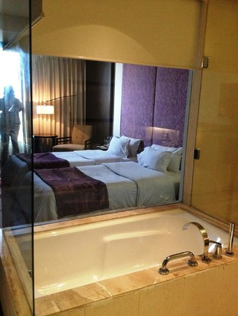 Hotel Royal Orchid, Jaipur: Bathroom view to bedroom- blinds are electronic and lower at the flip of a switch.