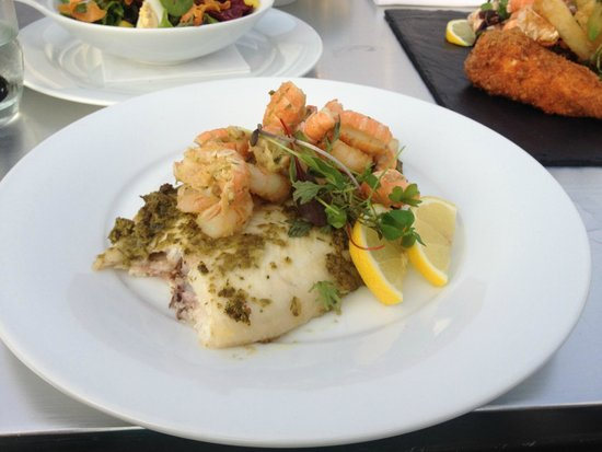 The Olive Tree: Lemon sole with Tiger prawns