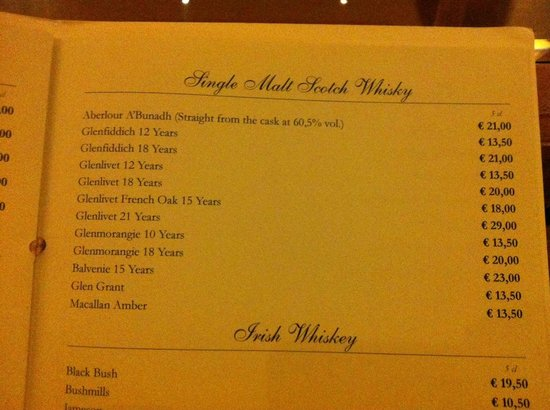 Olissippo Lapa Palace: Drinks menu