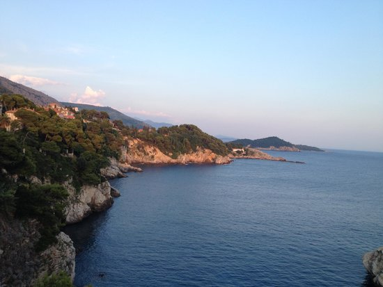 Stunning view of the Dubrovnik coastline from Vapor Restaurant terrace.