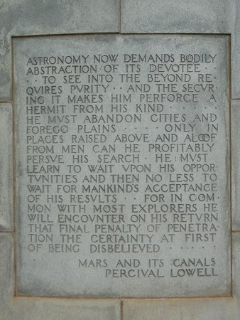 Lowell Observatory: Another mausoleum quote